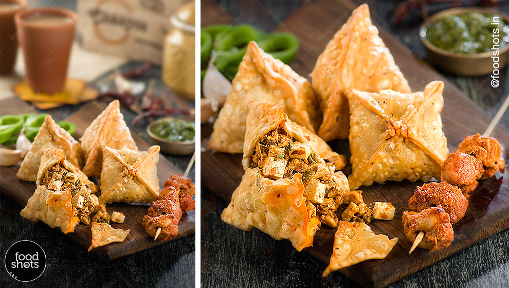 Samosa and Chai for Chaayos| food photography Delhi India
